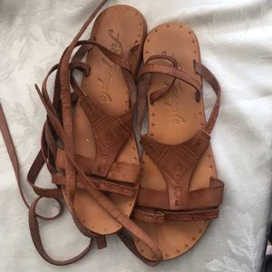 Free People Stamped Leather Tie Up Sandal